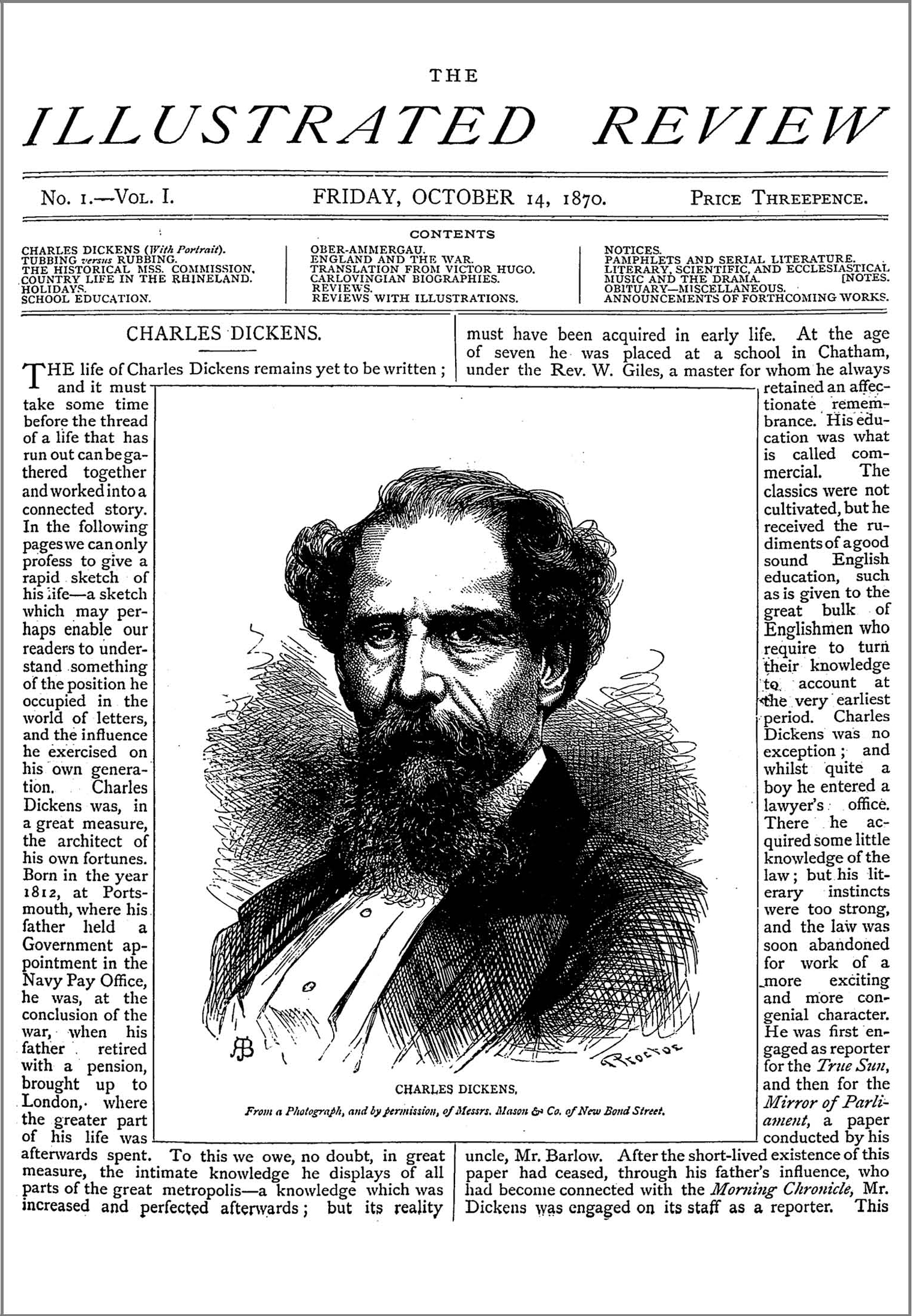 Figure 11: Homage to Charles Dickens in the Illustrated Review, 14 Oct. 1870: 1.
